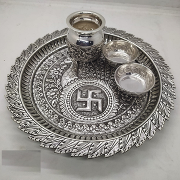peacock motif aarta thal set in hallmark silver by... by Puran Ornaments