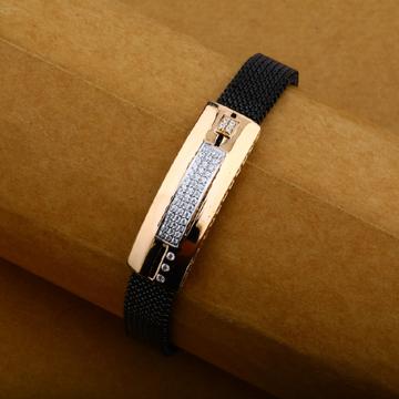 Mens 18K Spring Rose Gold Daily Wear Leather Bracelet-MLB16