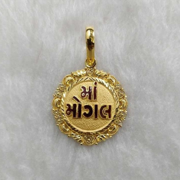 916 Gold Mogal Maa Round Pendant