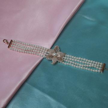 92.5 Silver Pearl Bracelet With CZ Stone