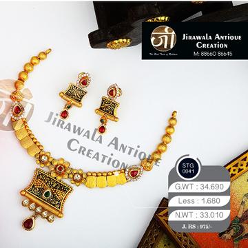 916 Gold Antique Bridal Necklace Set STG-0041