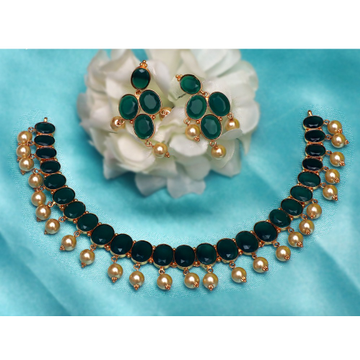 916 Gold Green Stone With Pearl Necklace Set PJ-N008