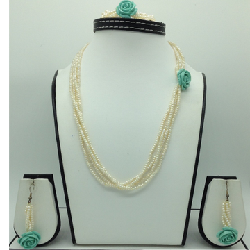 Freshwater White Seed Pearls And Turquoise FlowerBroachSet JPP1075