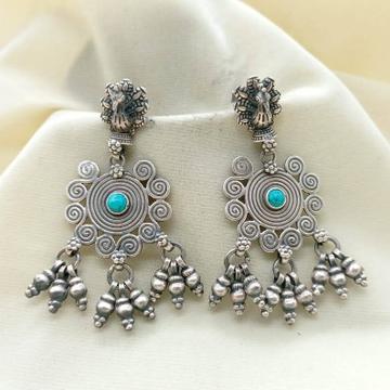 Puran real silver dancing peacock boho dangler ear...