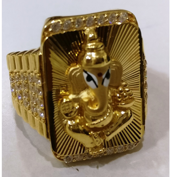 22kt gold cz casting lord ganesha fitting gents ring