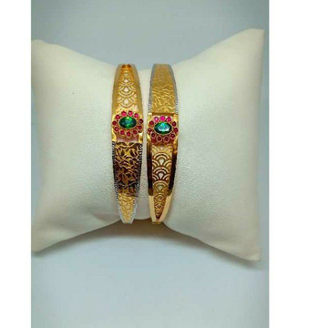 916 Hallmarked Gold Colored Stone Copper Kadli