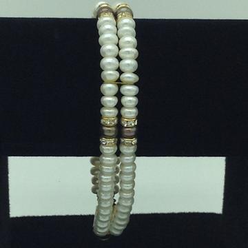 White And BrownFlatPearls WithCZ Chakri 2Layers BraceletJBG0116