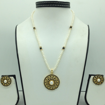 Black CZ And Pearls PendentSet With 1Line FlatP...