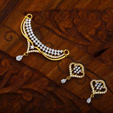 916 Gold CZ Ethnic Design Hallmark Pendant Set
