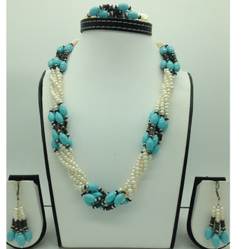 Freshwater White Pearls And Turquoise Twisted Neck...