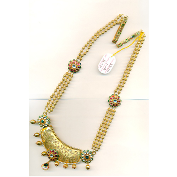 916 Gold Antique Wedding Long Necklace Set-21