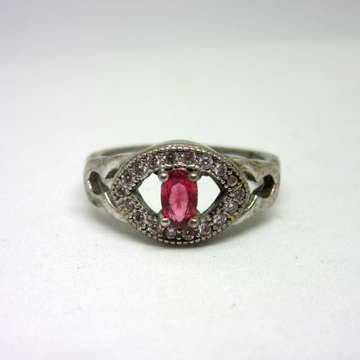 Silver pink stone royal ring sr925-177