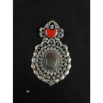 92.5 Sterling Silver Dull Oxodize Finish With Salman Stone & Dimond Pendant Ms-2946