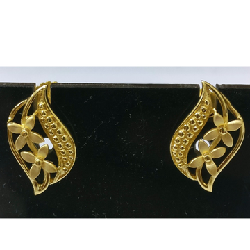 22kt gold plain casting flower earrings for women