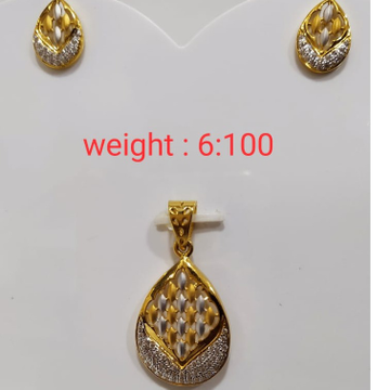 916 gold rodiam pendant set by