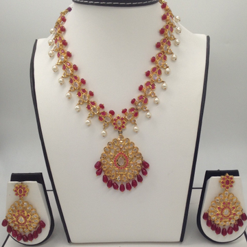 White Polki And Red CZ Stones Necklace Haar Set JN...
