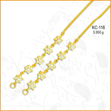 916 CZ Gold Flower Design Earchain KC-116
