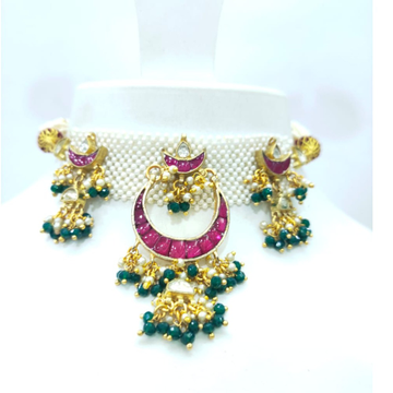 Mini choker with hanging green moti and emerald and ruby necklace set 1610