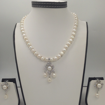 White CZ And Pearls Pendent Set With 1 Line Button Jali Pearls Mala JPS0412