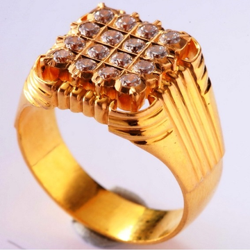 22kt gold close setting CZ designer gents ring gr-02