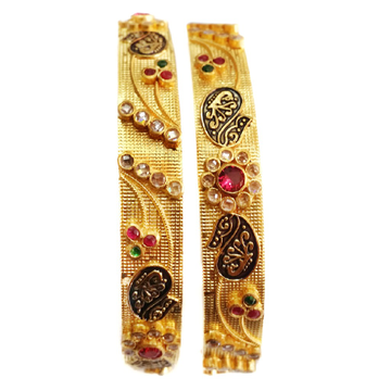 22k Gold Antique Checkers Diamond Flower Kada Bangles MGA - GP045