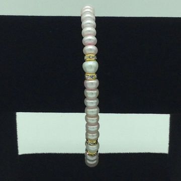 White And Pink Flat Pearls With CZ Chakri 1 Layers Bracelet JBG0102