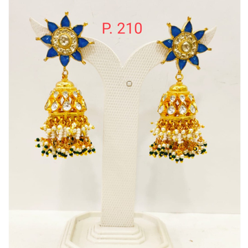 Sky Blue Gold tone kundan work Jhumka earring with Hanging moti 1719