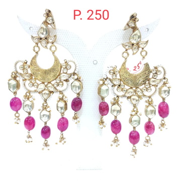 Ruby and kundan hanging stone with antique earrings 1558