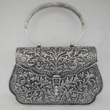 92.5 Sterling silver Designer Full Oxidised Purse For Women