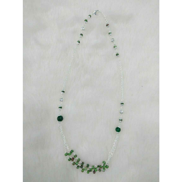 92.5 Sterling Silver Bagaldana Chain Green Pearl Mangalsutra Ms-2966