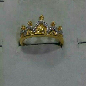 22K / 916 Gold CZ Designer Crown Ring by