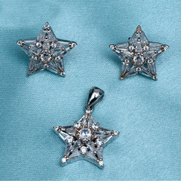 925 Sterling Silver Star Shape Pendant Set PJ-PS014