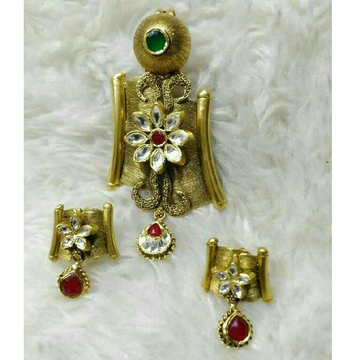 22K / 916 Gold Antique Jadtar Flower Pendant Set