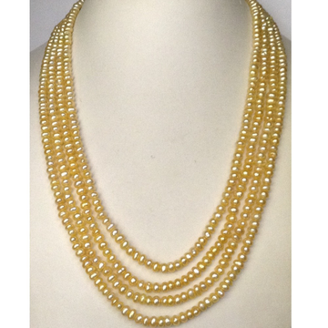 Freshwater Golden Flat Pearls Necklace 4 Layers