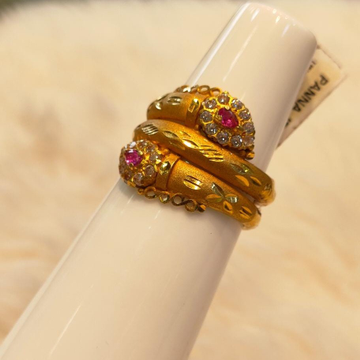 916 Gold Fancy Pink Stone Ring by Panna Jewellers