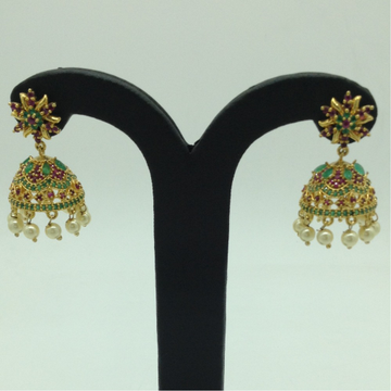 Green and Red CZ Stones Ear JhumkiJER0031
