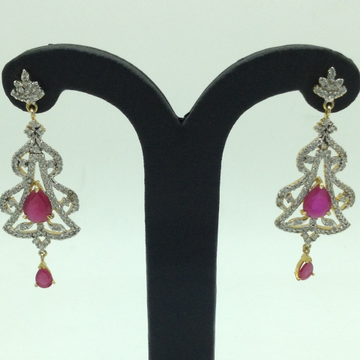 White and Red CZ Stones Ear HangingsJER0040