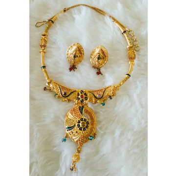 Gold Fancy necklace set butii by
