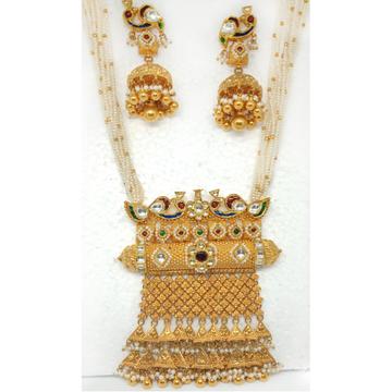 22KT Gold Peacock Design Jaisalmeri Pendant Set - LJ-12