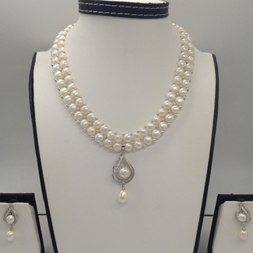 White CZ And Pearls Pendent Set With 2 Line Button Jali Pearls Mala JPS0250
