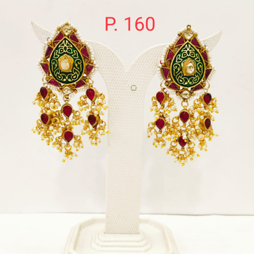 Unique style Gold Plated Ruby stone Earring with Hanging Moti  1704