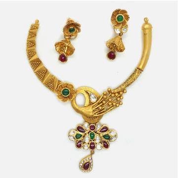 916 Gold Antique Bridal Necklace Set RHJ-4356