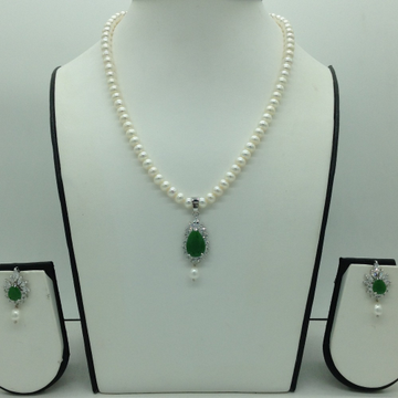 White And Green CZ Pendent Set With Flat Pearls Ma...