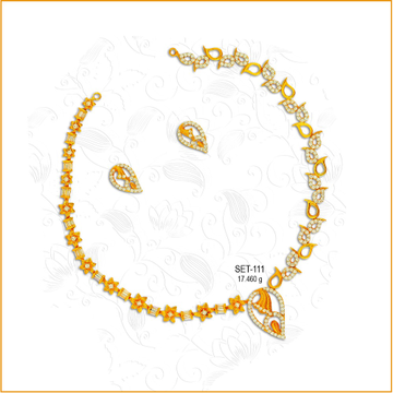 916 Gold Fancy CZ Diamond Necklace Set-111