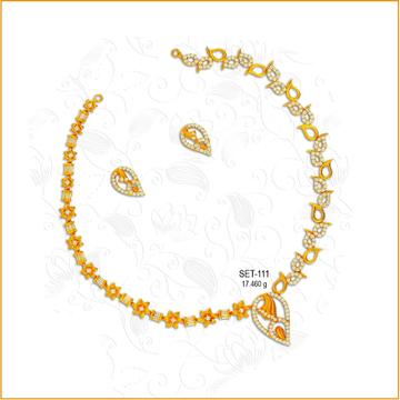 916 Gold Fancy CZ Diamond Necklace Set-111