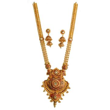 22k Gold Rajwadi Designer Long Necklace Set MGA - GLS036