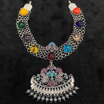 92.5% Pure Silver Compact Temple Choker PO-216-65 by Puran Ornaments