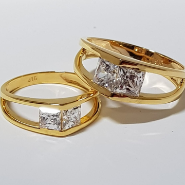 22 ct gold couple ring two diamond in uniqe shape