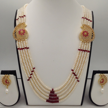 White And RedCZ Peacock BroochSet With 5Lines FlatPearls Mala JPS0474