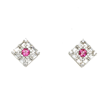 925 Sterling Silver Square Shaped Pink Diamond Earring MGA - BTS0099